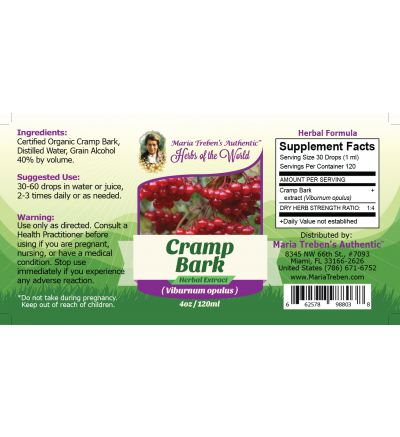 Cramp Bark(Viburnum opulus) 4oz/118ml Herbal Extract / Tincture - Maria Treben's Authentic™ Herbs of the World
