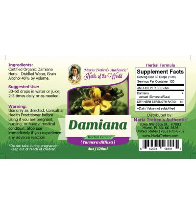 Damiana Herb (Turnera diffusa) 4oz/118ml Herbal Extract / Tincture - Maria Treben's Authentic™ Herbs of the World