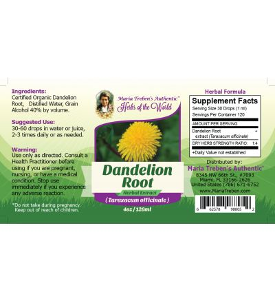 Dandelion Root (Taraxacum officinale) 4oz/118ml Herbal Extract / Tincture - Maria Treben's Authentic™ Herbs of the World