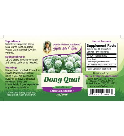 Dong Quai Root (Angelica sinensis) 2oz/59ml Herbal Extract / Tincture - Maria Treben's Authentic™ Herbs of the World