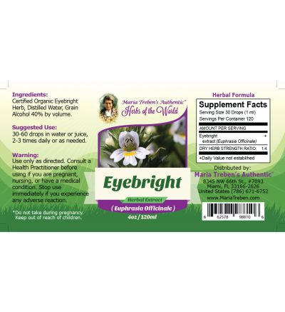 Eyebright Leaf (Euphrasia officinalis) 4oz/118ml Herbal Extract / Tincture - Maria Treben's Authentic™ Herbs of the World