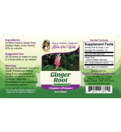 Ginger Root (Zingiber officinale) 4oz/118ml Herbal Extract / Tincture - Maria Treben's Authentic™ Herbs of the World