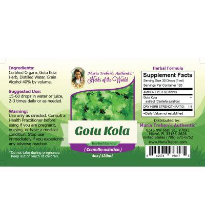 Gotu Kola Leaf (Centella asiatica) 4oz/118ml Herbal Extract / Tincture - Maria Treben's Authentic™ Herbs of the World
