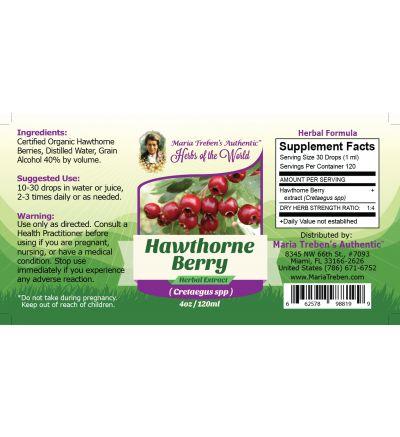 Hawthorne Berry (Cretaegus Oxycanthus) 4oz/118ml Herbal Extract / Tincture - Maria Treben's Authentic™ Herbs of the World