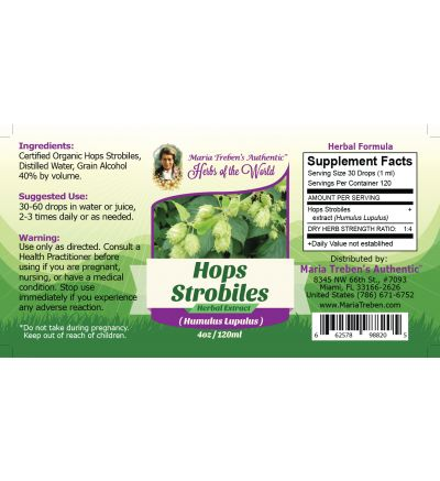 Hops Strobiles (Humulus Lupulus) 4oz/118ml Herbal Extract / Tincture - Maria Treben's Authentic™ Herbs of the World