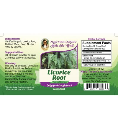 Licorice Root (Glycyrrhiza glabra) 4oz/118ml Herbal Extract / Tincture - Maria Treben's Authentic™ Herbs of the World