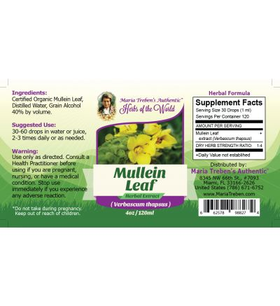 Mullein Leaf (Verbascum Thapsus) 4oz/118ml Herbal Extract / Tincture - Maria Treben's Authentic™ Herbs of the World