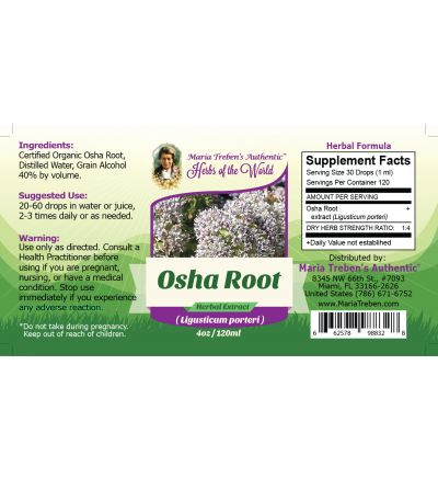 Osha Root (Ligusticum porteri) 4oz/118ml Herbal Extract / Tincture - Maria Treben's Authentic™ Herbs of the World