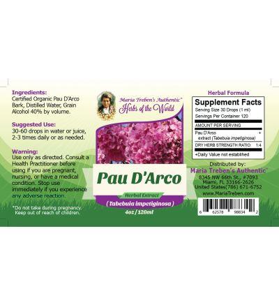 Pau D'Arco (Tabebuia impetiginosa) 4oz/118ml Herbal Extract / Tincture - Maria Treben's Authentic™ Herbs of the World