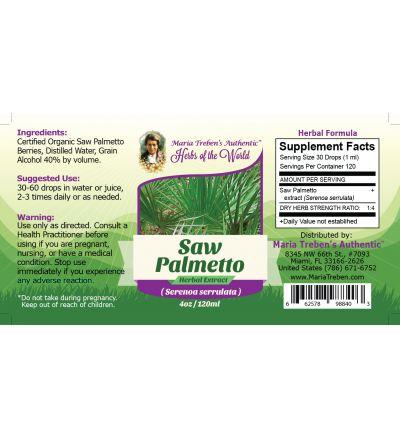 Saw Palmetto (Sarenoa Serrulata) 4oz/118ml Herbal Extract / Tincture - Maria Treben's Authentic™ Herbs of the World