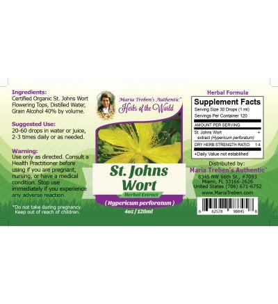 St. John's Wort Flowering Tops (Hypericum Perforatum) 4oz/118ml Herbal Extract / Tincture - Maria Treben's Authentic™ Herbs of the World