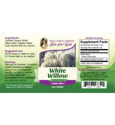 White Willow Bark (Salix Alba) 4oz/118ml Herbal Extract / Tincture - Maria Treben's Authentic™ Herbs of the World