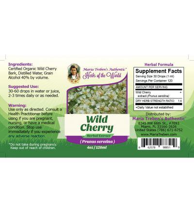 Wild Cherry Bark (Prunus Serotina) 4oz/118ml Herbal Extract / Tincture - Maria Treben's Authentic™ Herbs of the World