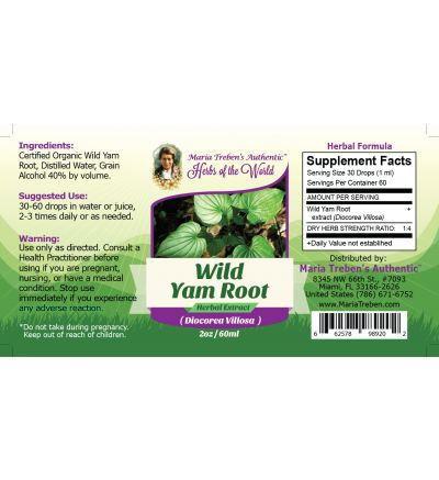 Wild Yam Root (Dioscorea Villosa) 2oz/59ml Herbal Extract / Tincture - Maria Treben's Authentic™ Herbs of the World