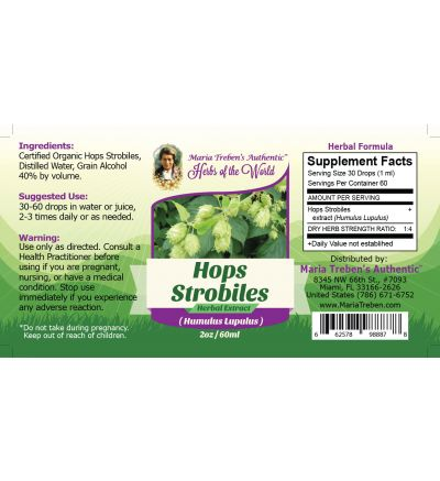 Hops Strobiles (Humulus Lupulus) 2oz/59ml Herbal Extract / Tincture - Maria Treben's Authentic™ Herbs of the World